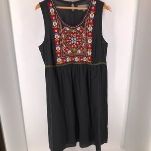Double D Ranch Black Sleeveless Embroidered Dress